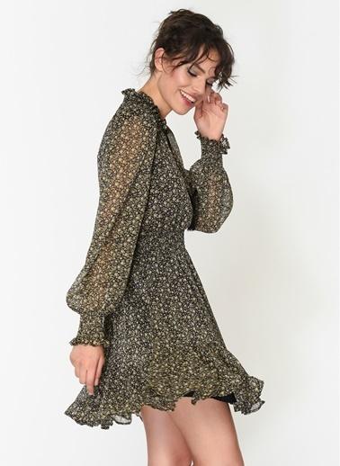 Loves You Beli Lastikli Eteği Fırfırlı Emprime Şifon Elbise Siyah